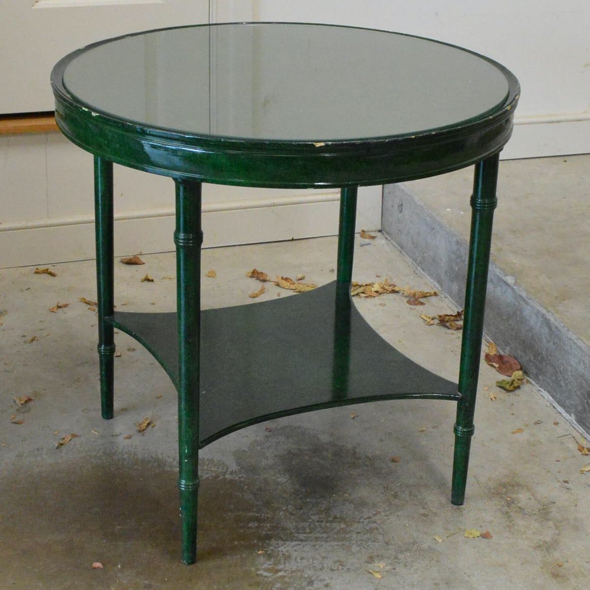 Green Painted Round Accent Table