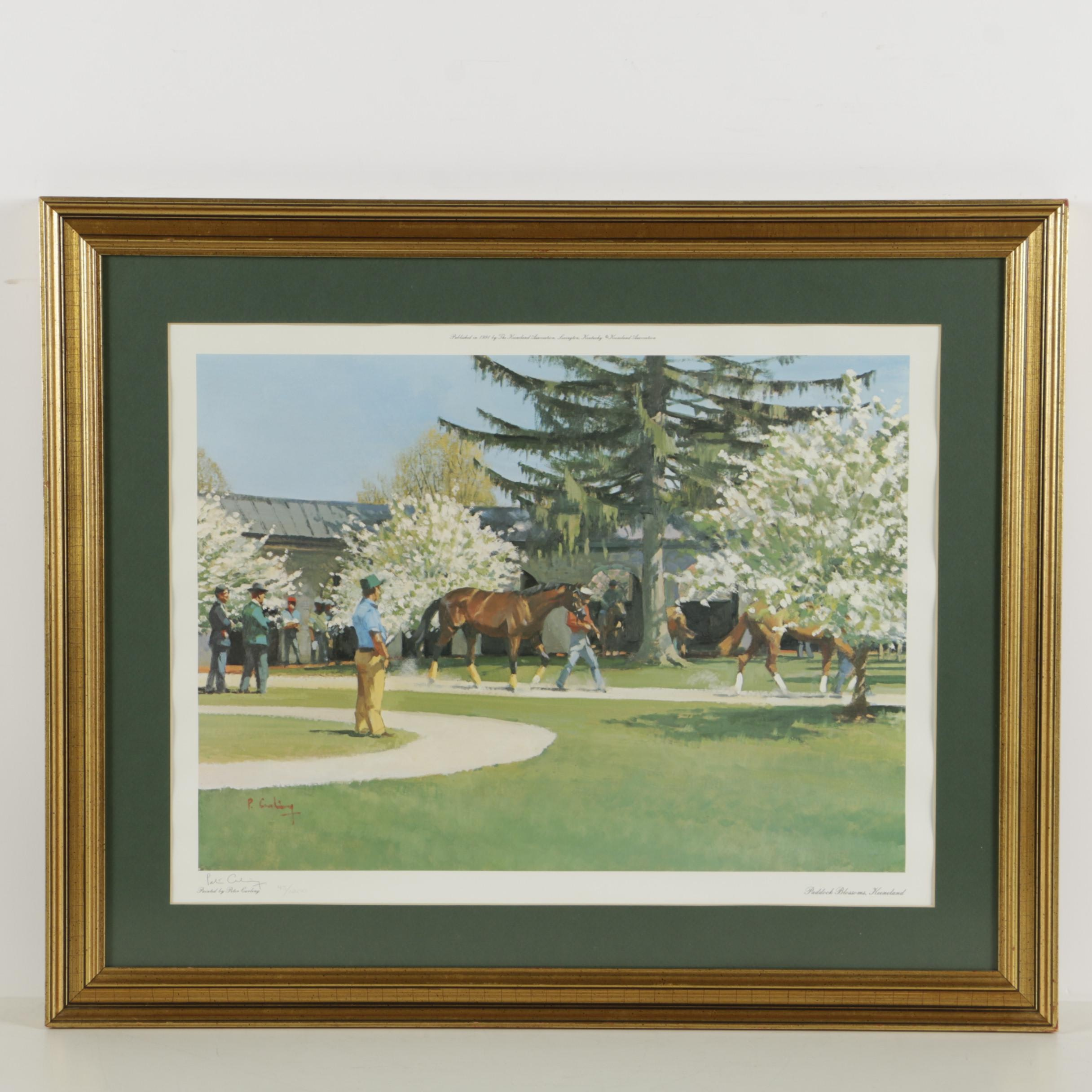 """Peter Curling Limited Edition Offset Lithograph """"Paddock Blossoms, Keeneland"""""""