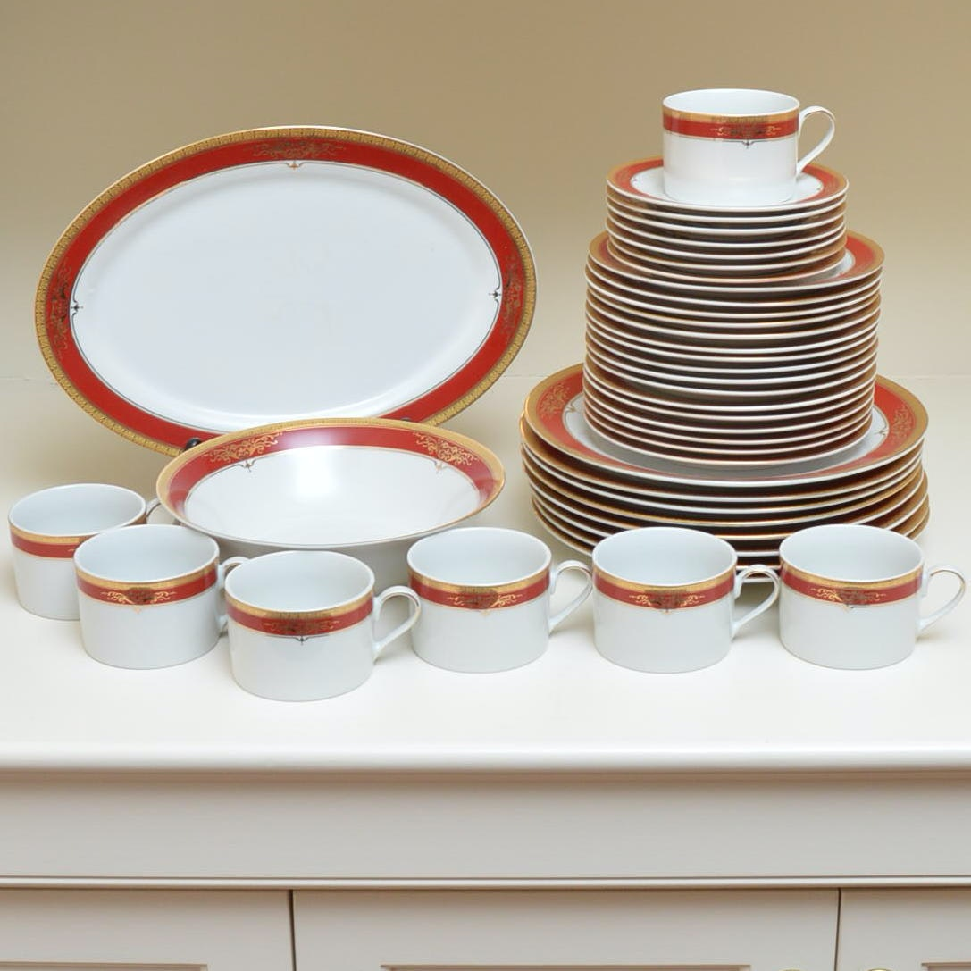 Royal Scotland Porcelain Tableware with Red and Gold Tone Decoration