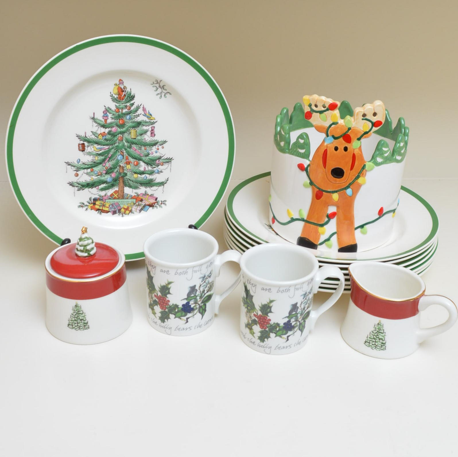 """Spode """"Christmas Tree"""" Plates and Other Holiday Serveware"""