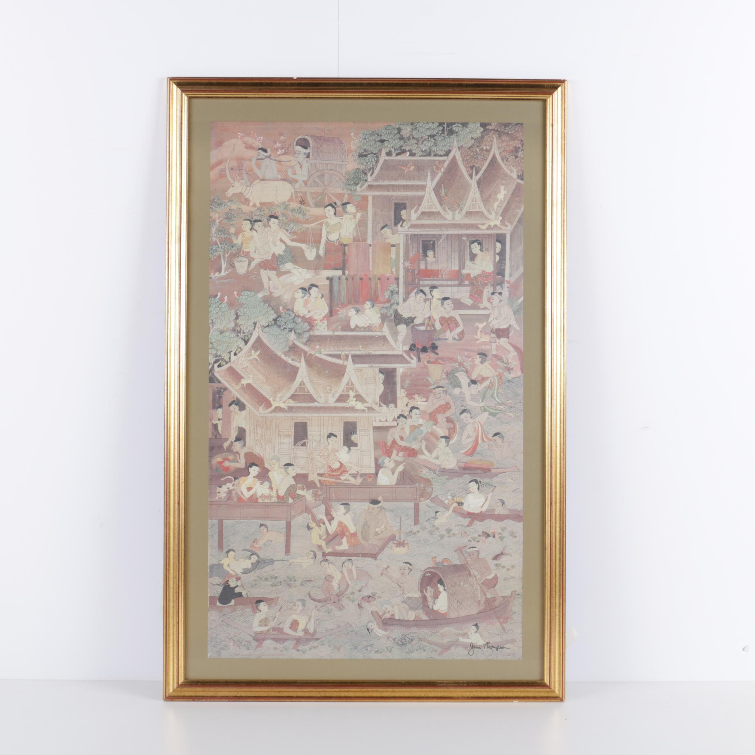 Southeast Asian Style Offset Lithograph After Jim Thompson