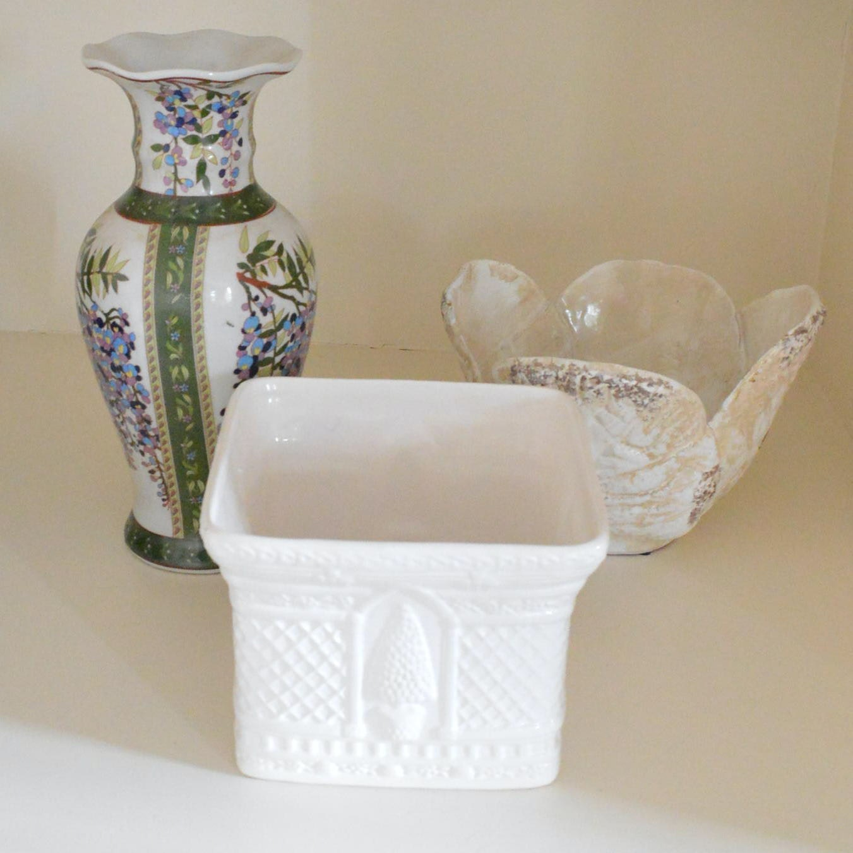 Stoneware and Milk Glass Vases