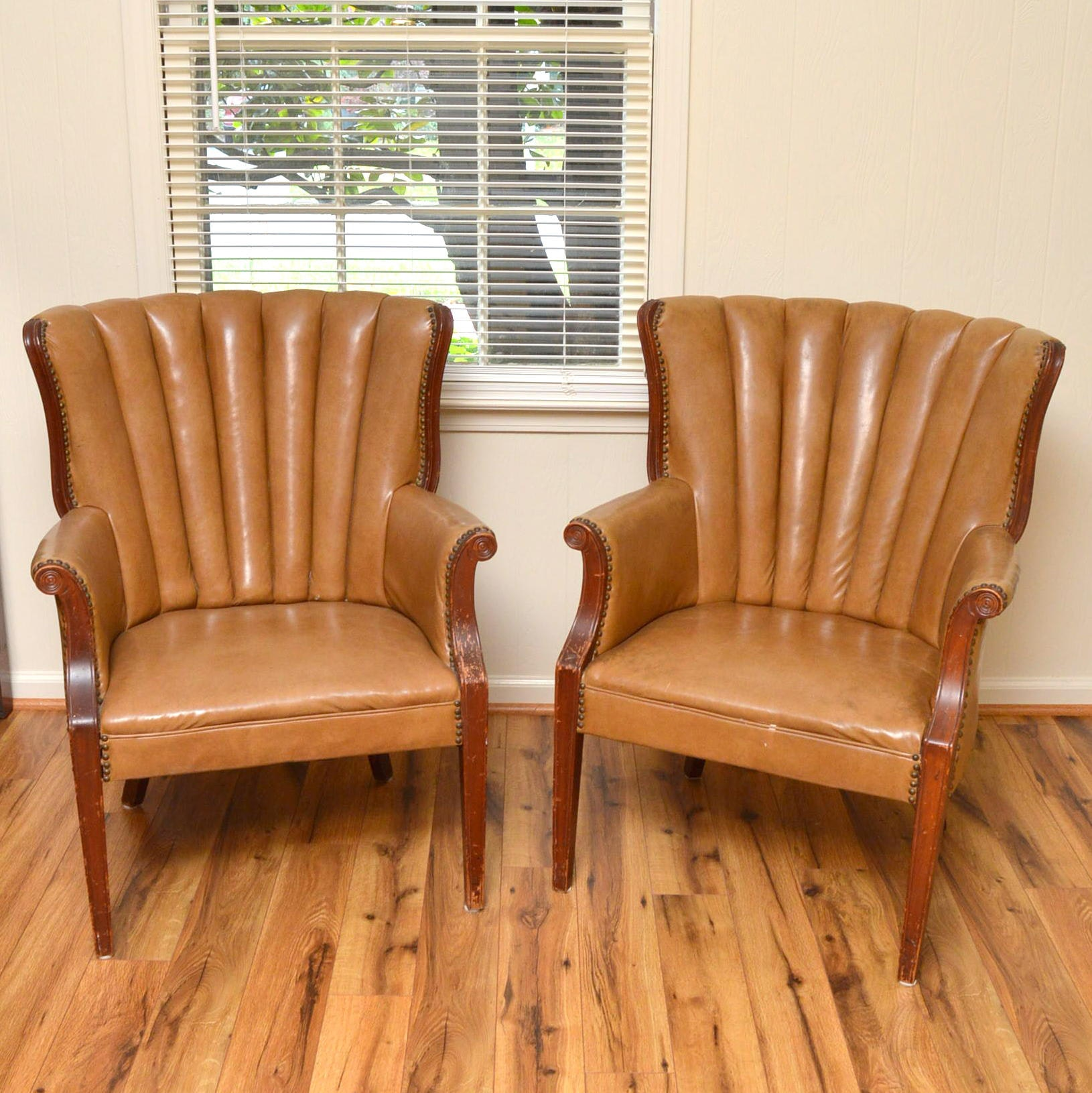 Vintage Leather Tufted Back Armchairs