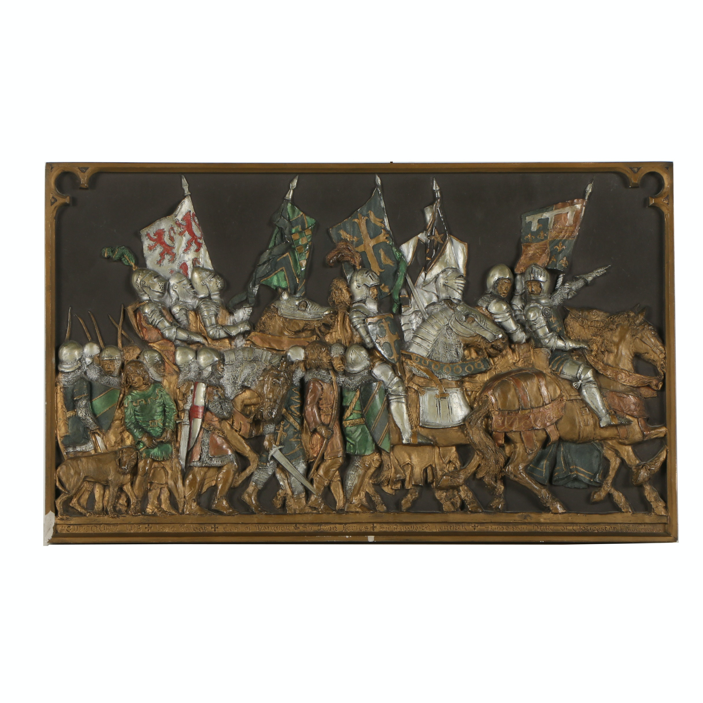 Hand Painted Cast Metal Sculpture of the Battle of Agincourt