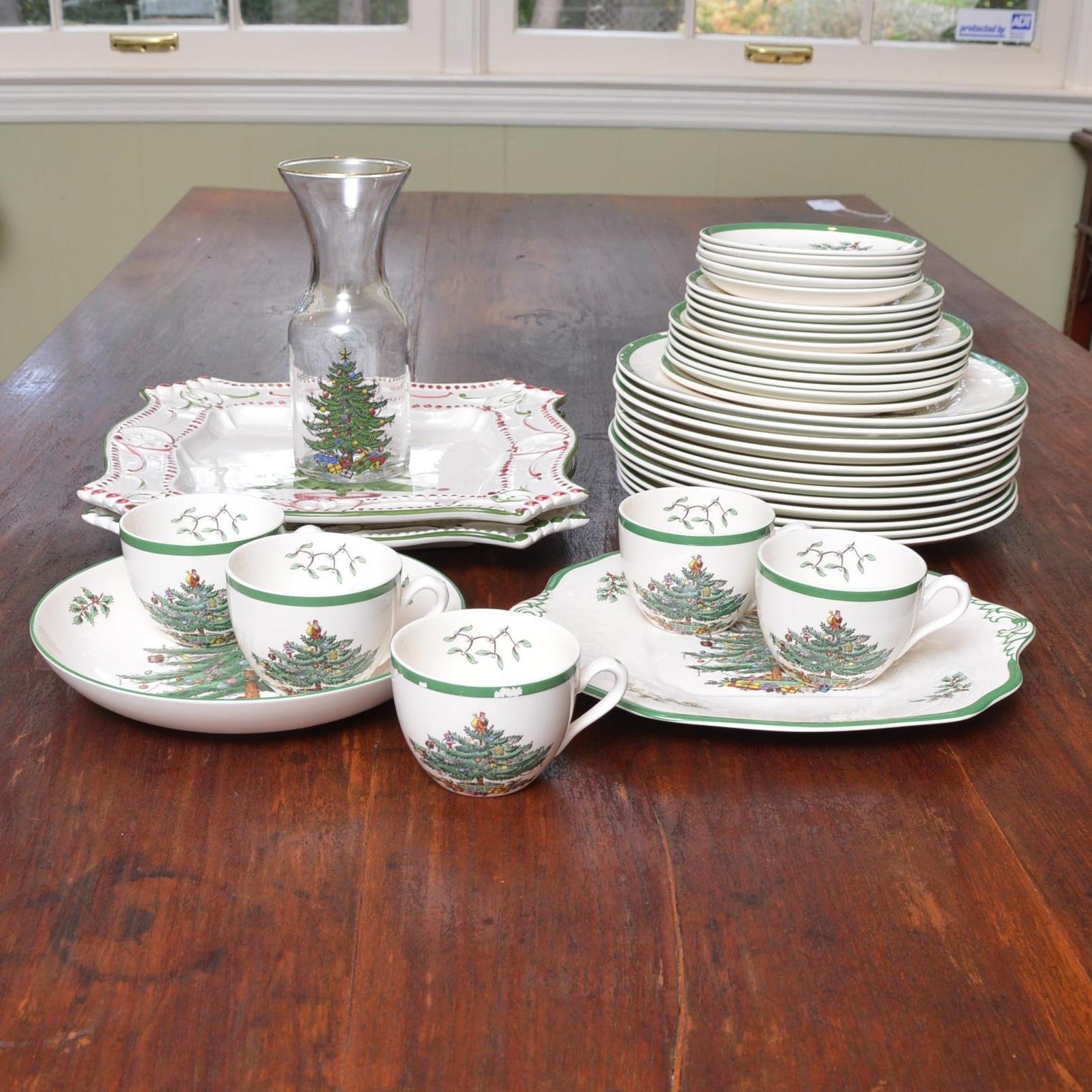 "Spode ""Christmas Tree"" and Casafina Portugal Christmas Themed Tableware"