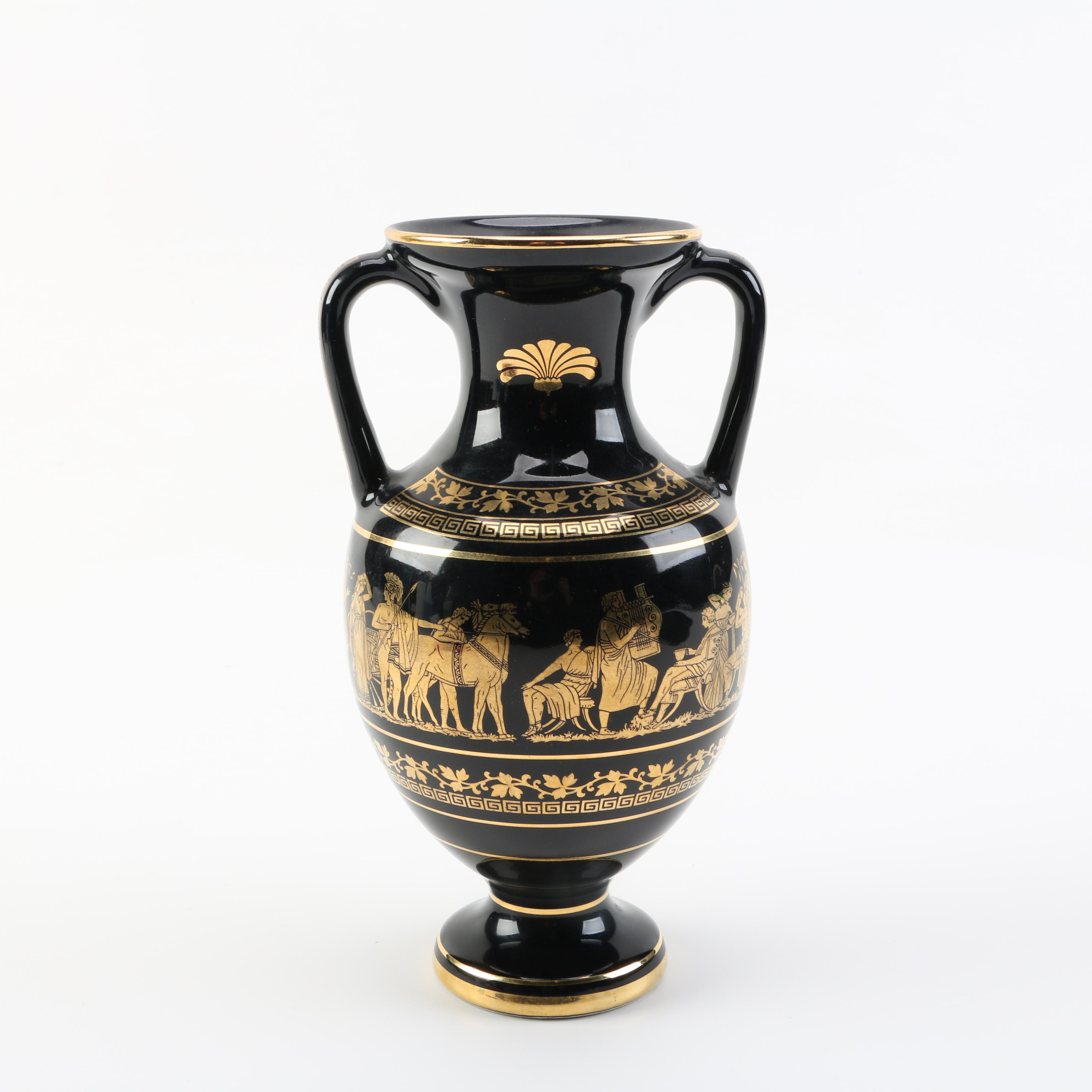 Contemporary Reproduction Grecian Urn with 24K Gold Detail