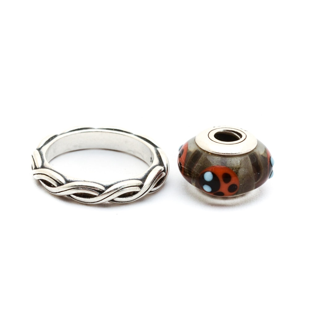 Pandora Sterling Ring with Charm