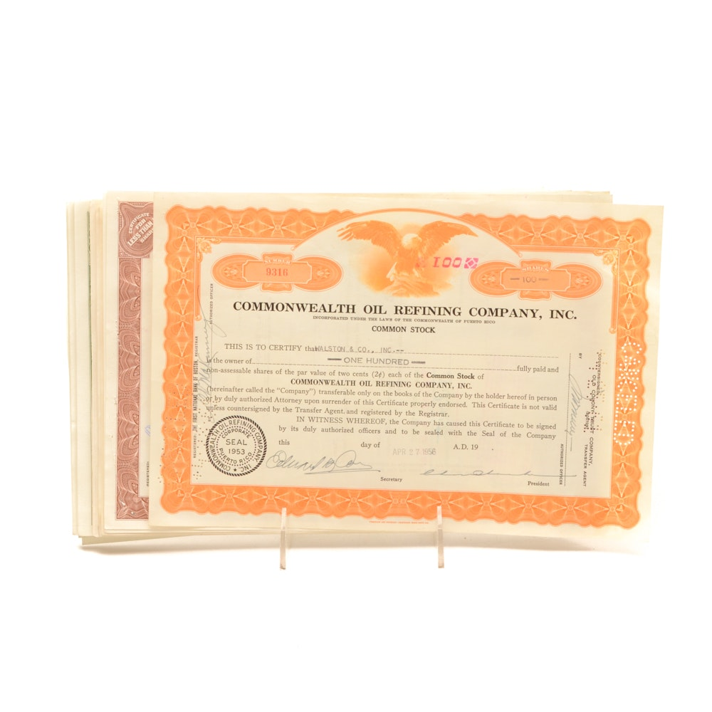 Seventy-Seven Vintage Common Stock Certificates