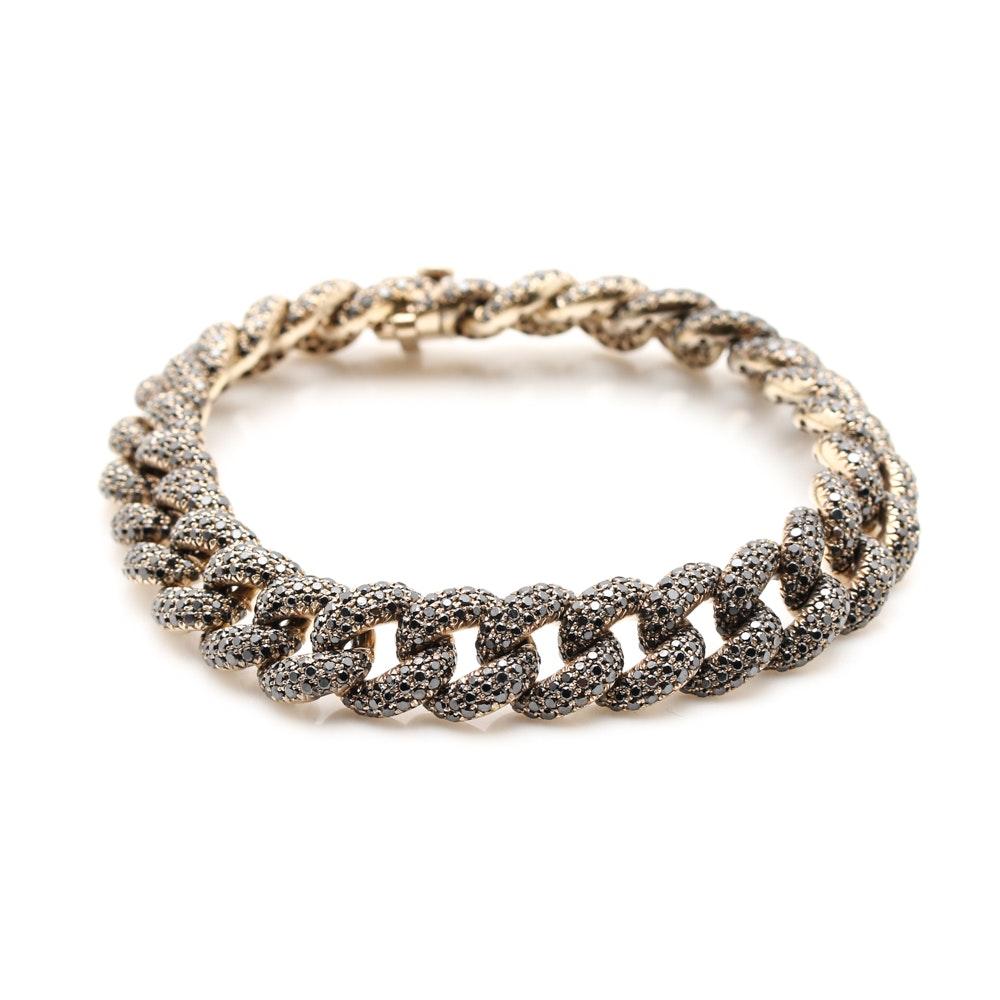 18K Yellow Gold 11.09 CTW Black Diamond Bracelet