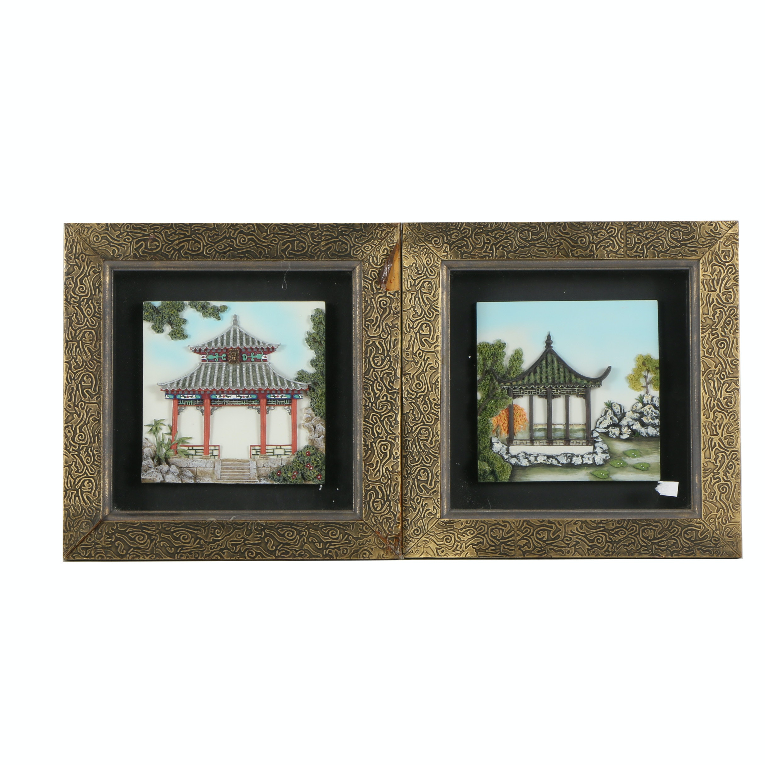 Hand Painted Resin Relief Sculptures of East Asian Architecture