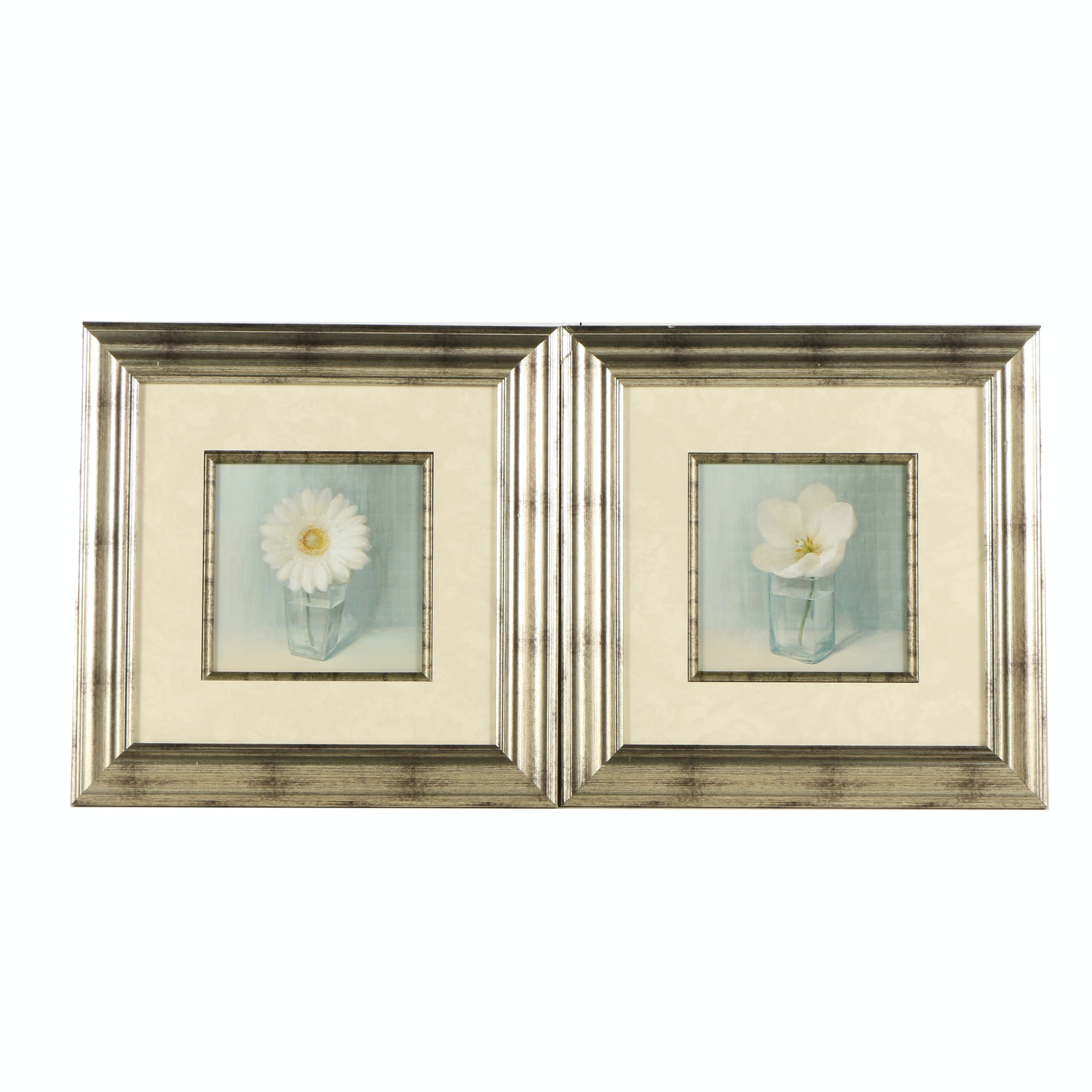 Offset Lithographs on Paper of White Flowers