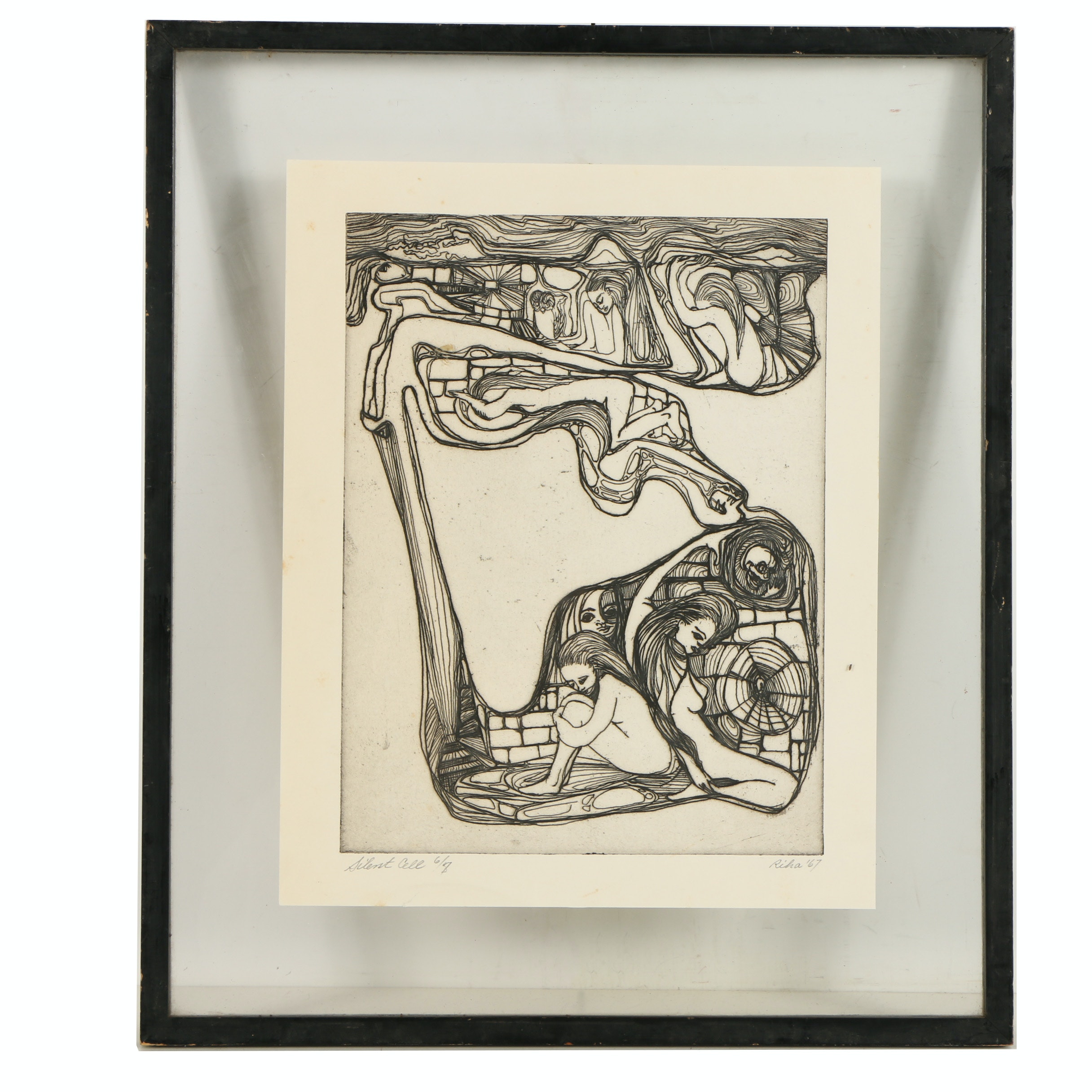 """Riha Limited Edition Etching on Paper """"Silent Cell"""""""