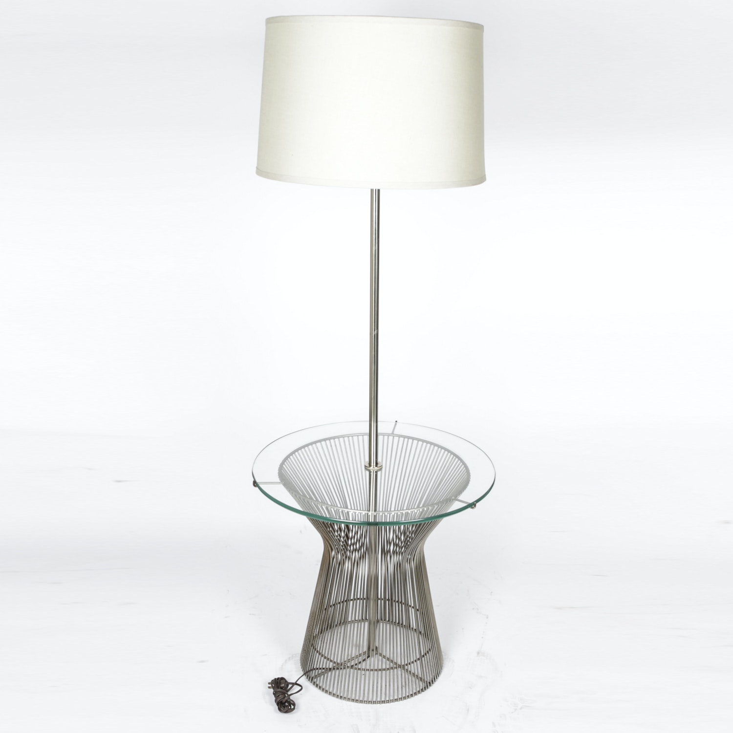 Modern Tray Table Floor Lamp with Wire Base