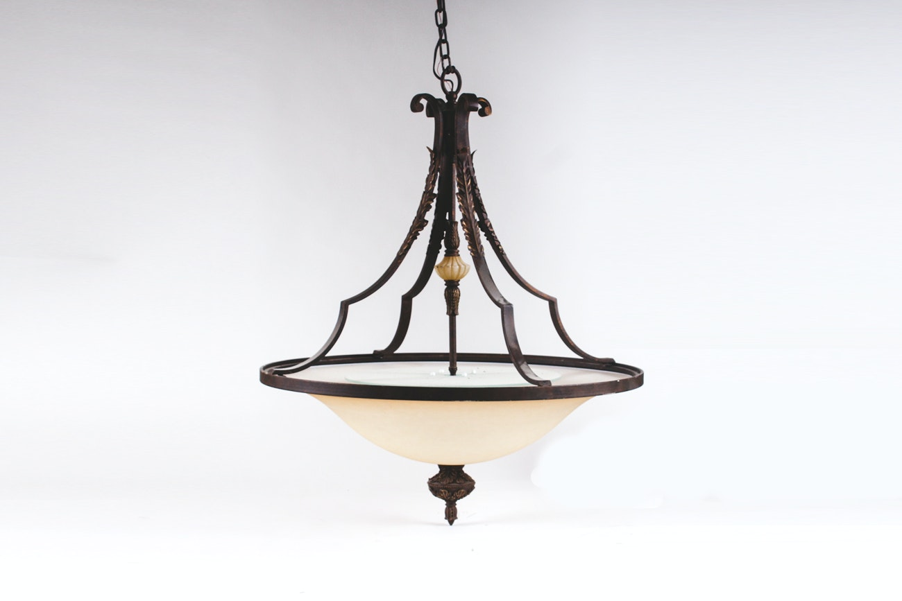 Large Frosted Glass and Wrought Iron Chandelier