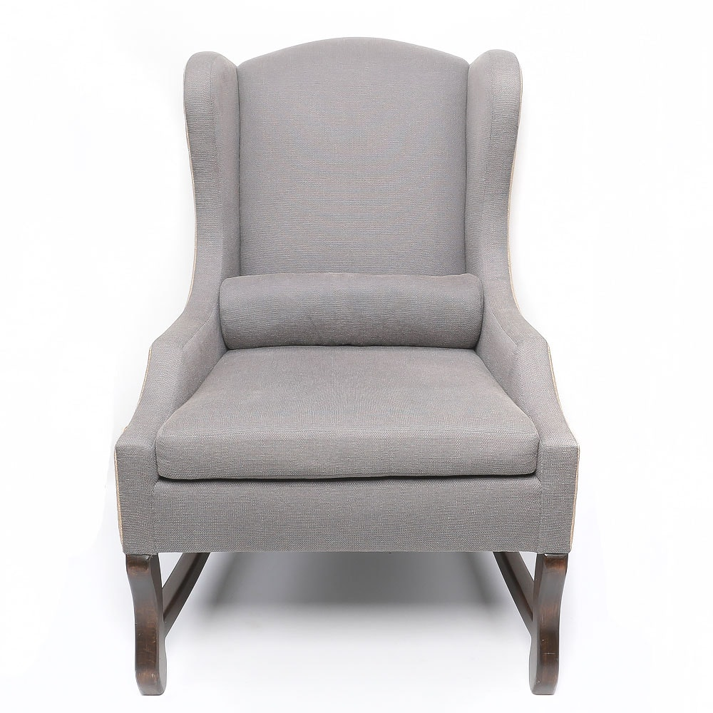 Grey Twill and Jute Upholstered Armchair