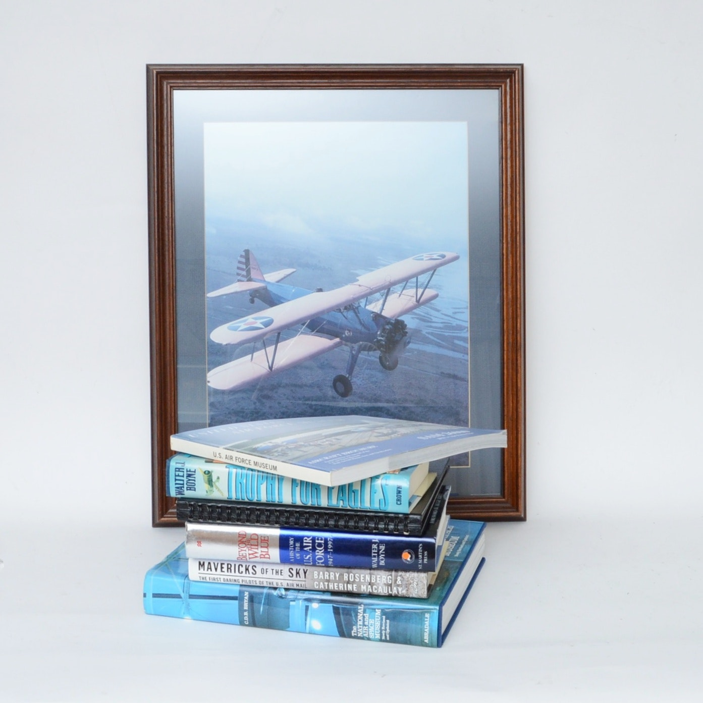 Aviation Books With Accompanying Framed Art Piece