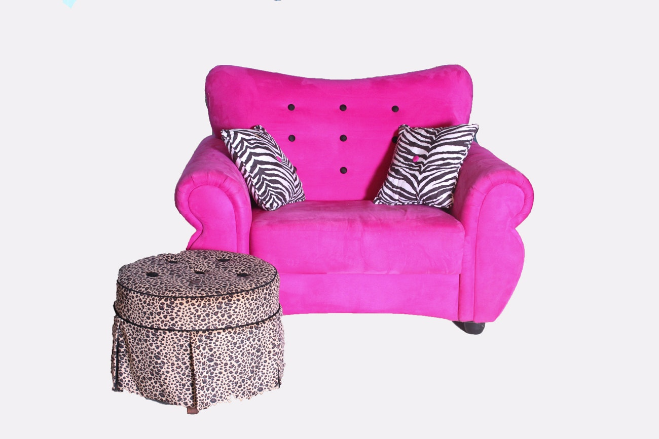 Child's Armchair with Animal Print Pillows and Stool