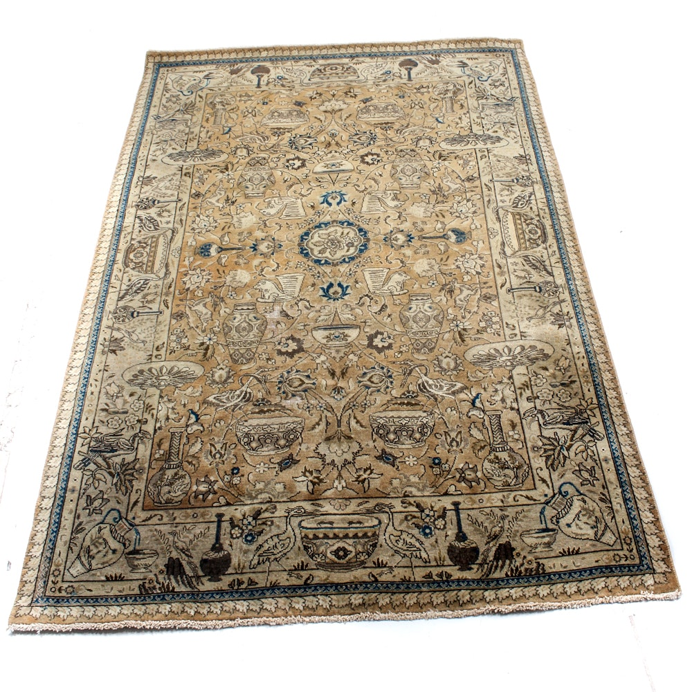 Semi-Antique Hand-Knotted Persian Kashmar Area Rug
