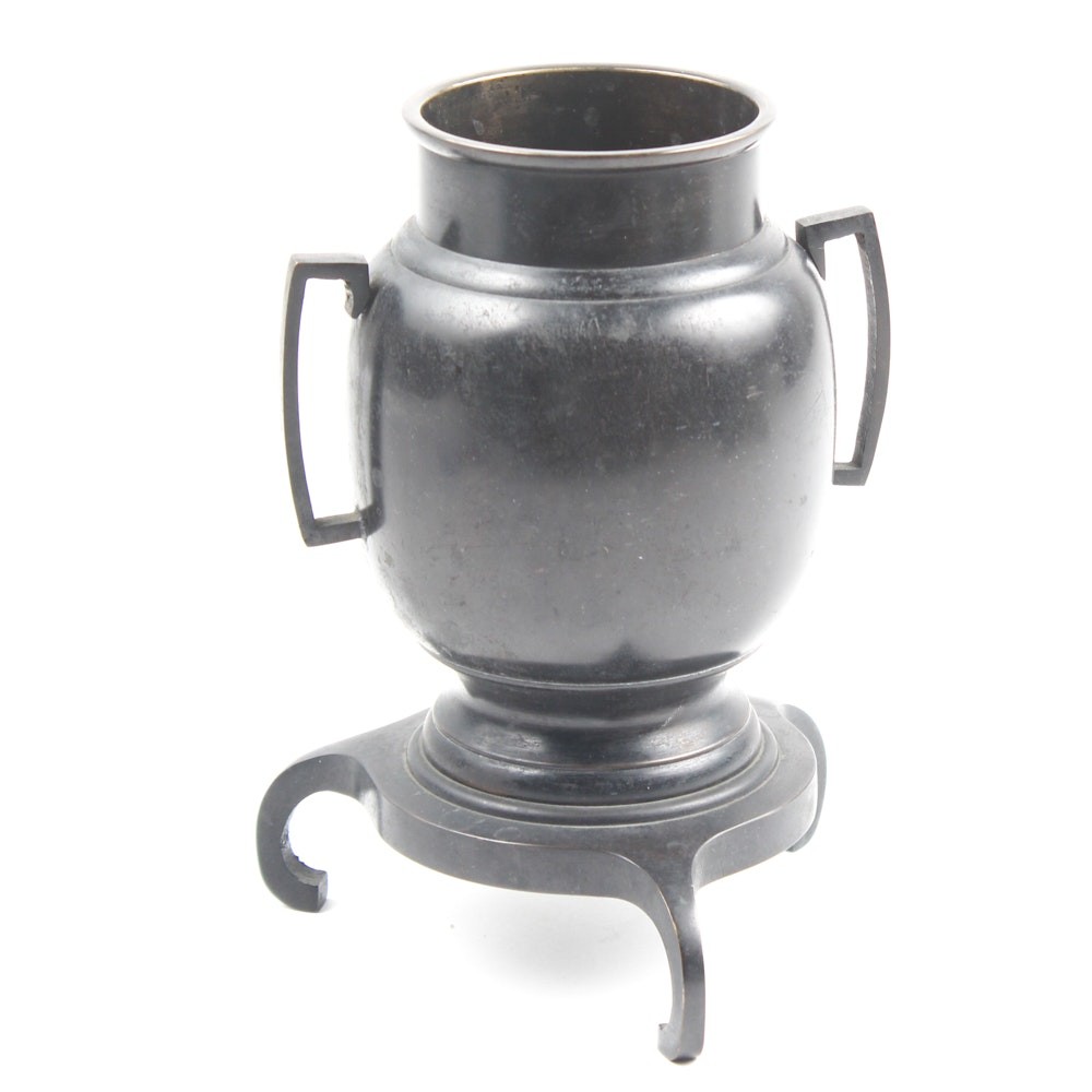 Japanese Bronze Footed Urn