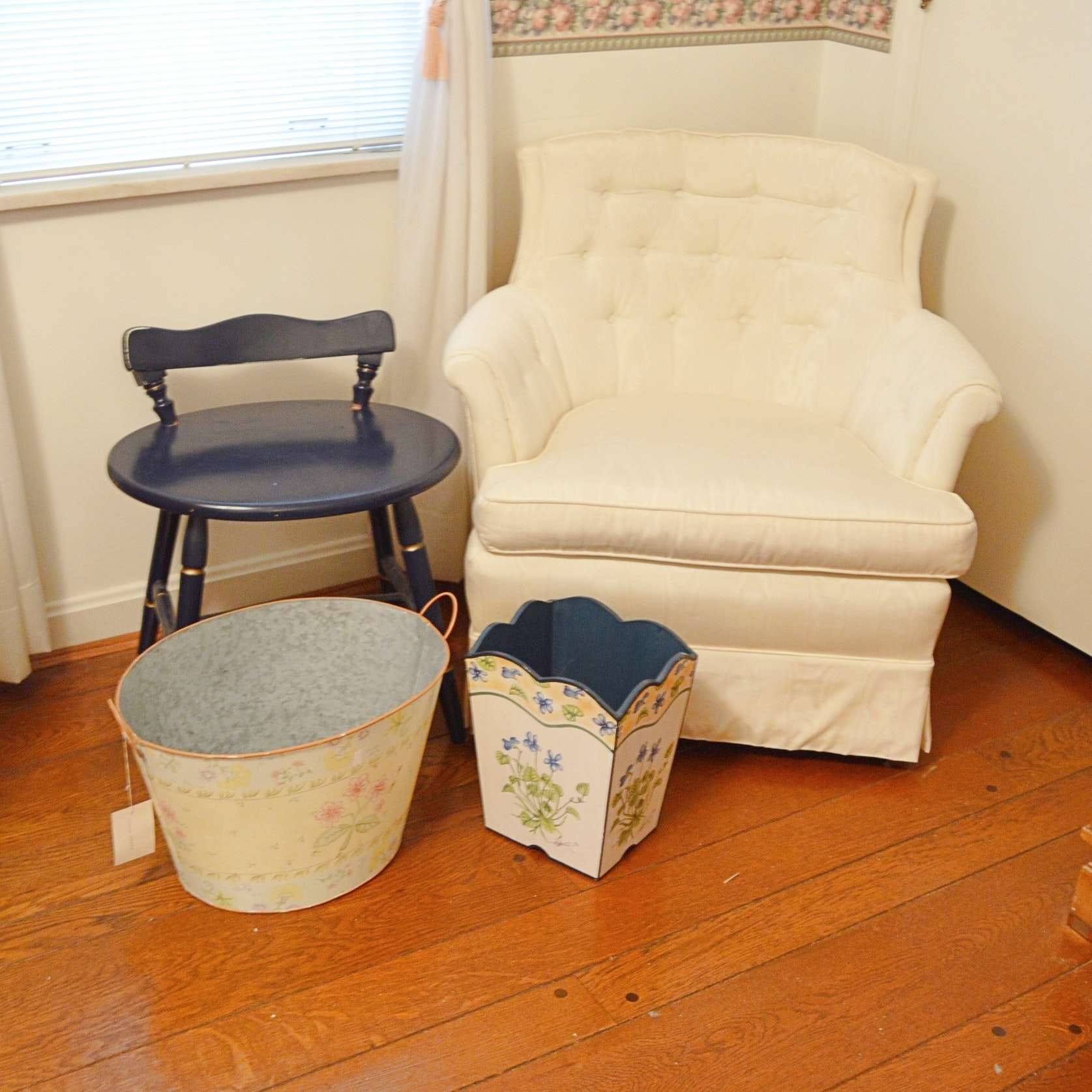 Tufted Back Occasional Chair, Wooden Seat, Metal Bin and Trash Receiver