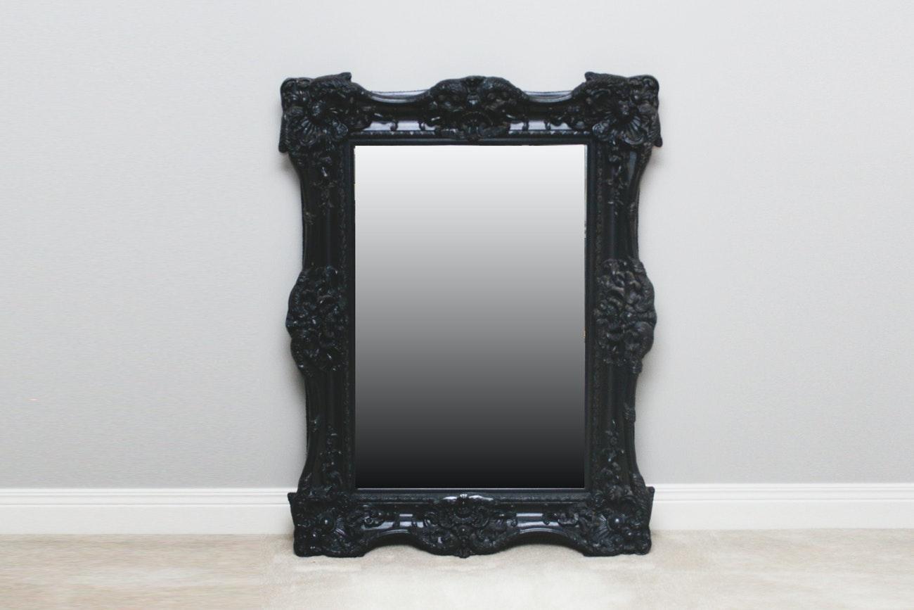 Carved Black Framed Wall Mirror