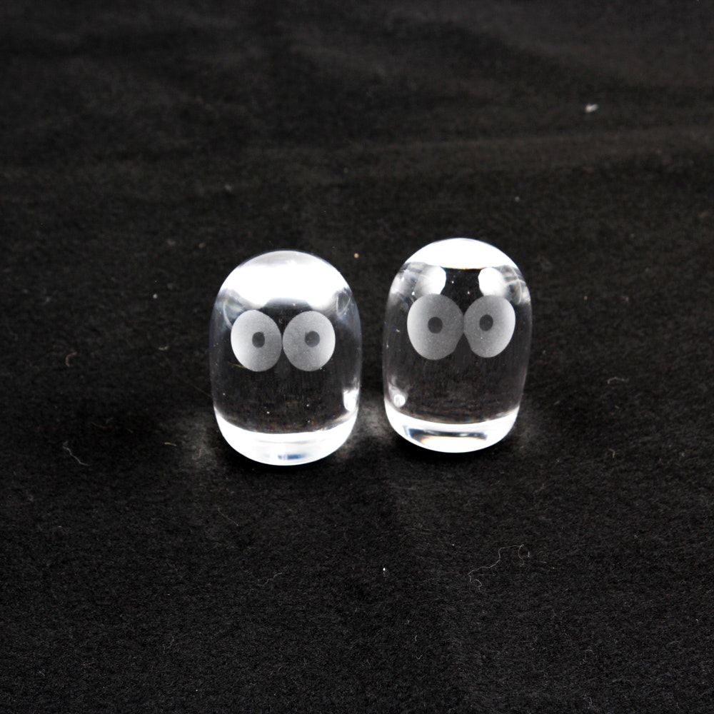 Hand-Blown Etched Glass Owl Figurines
