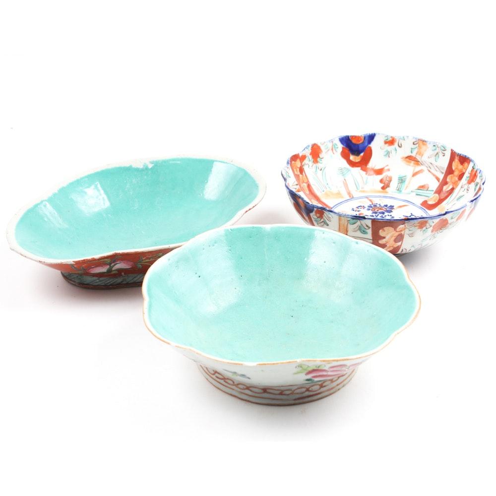 Antique Japanese Hand-Painted Ceramic Bowls
