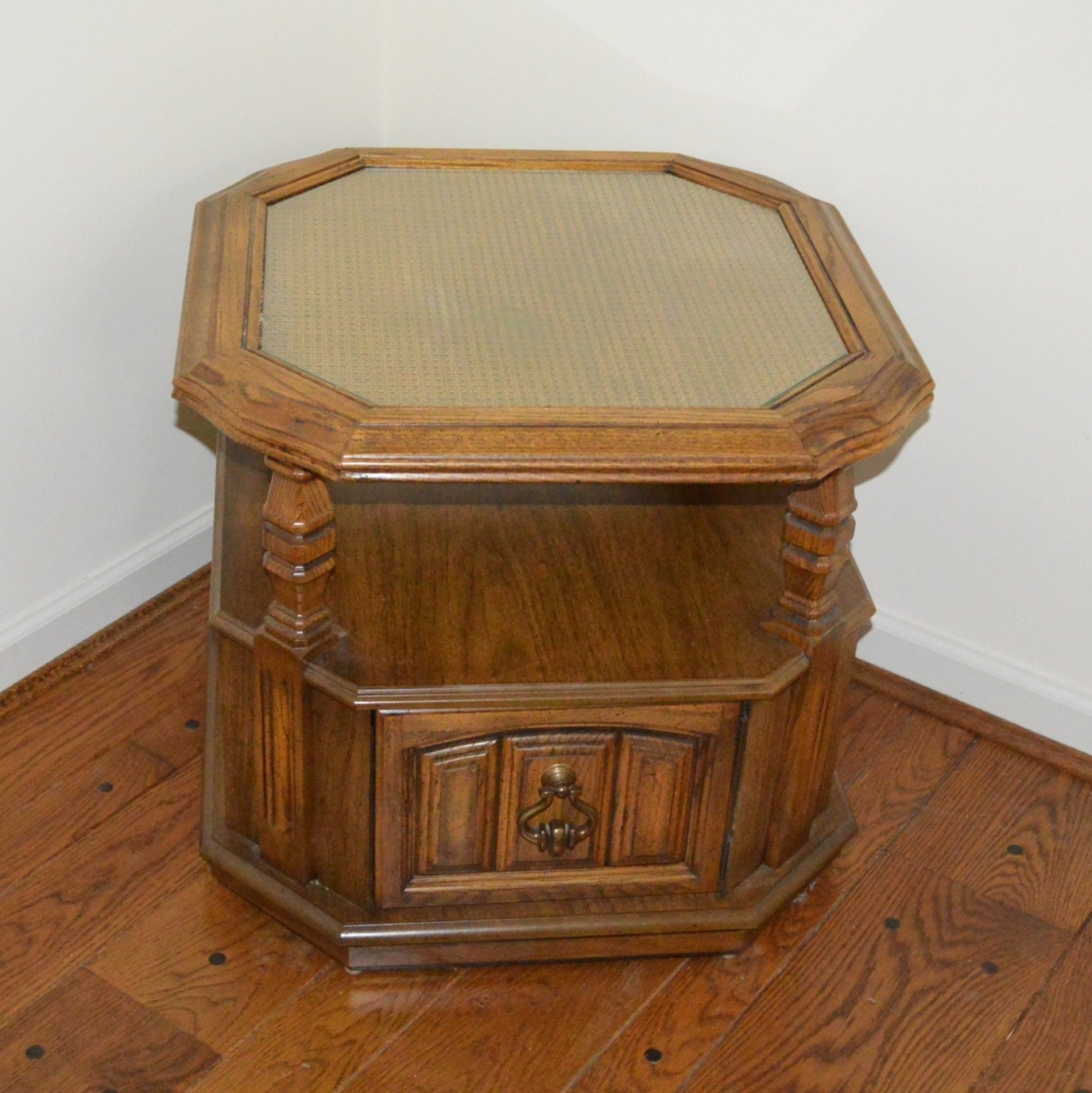 Oak End Table with Rattan Top and Storage