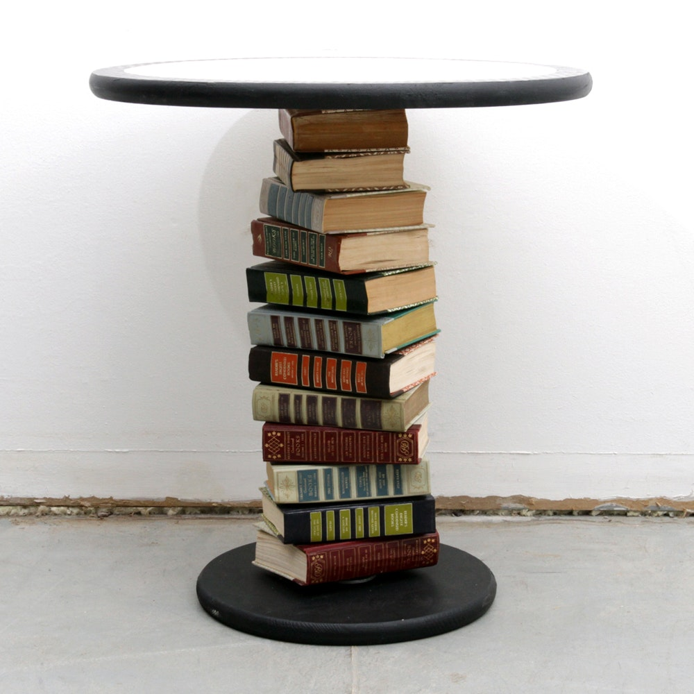 Book Pedestal Accent Table