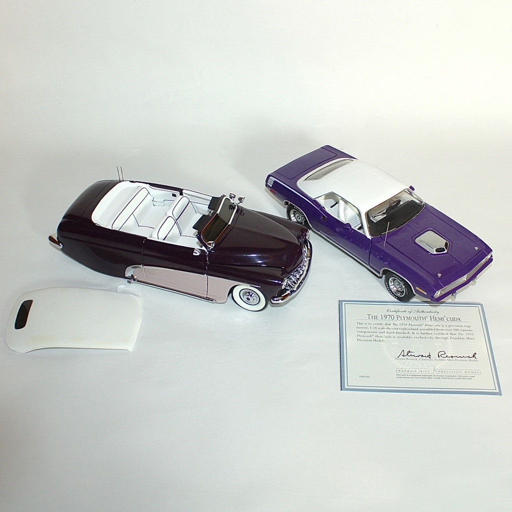 1950 Ford Convertible and 1970 Plymouth Hemicuda Die Cast Cars by Franklin Mint