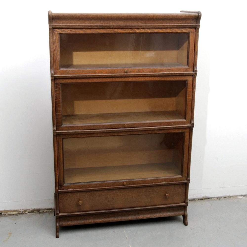 Antique Tiger Oak Barrister Bookcase