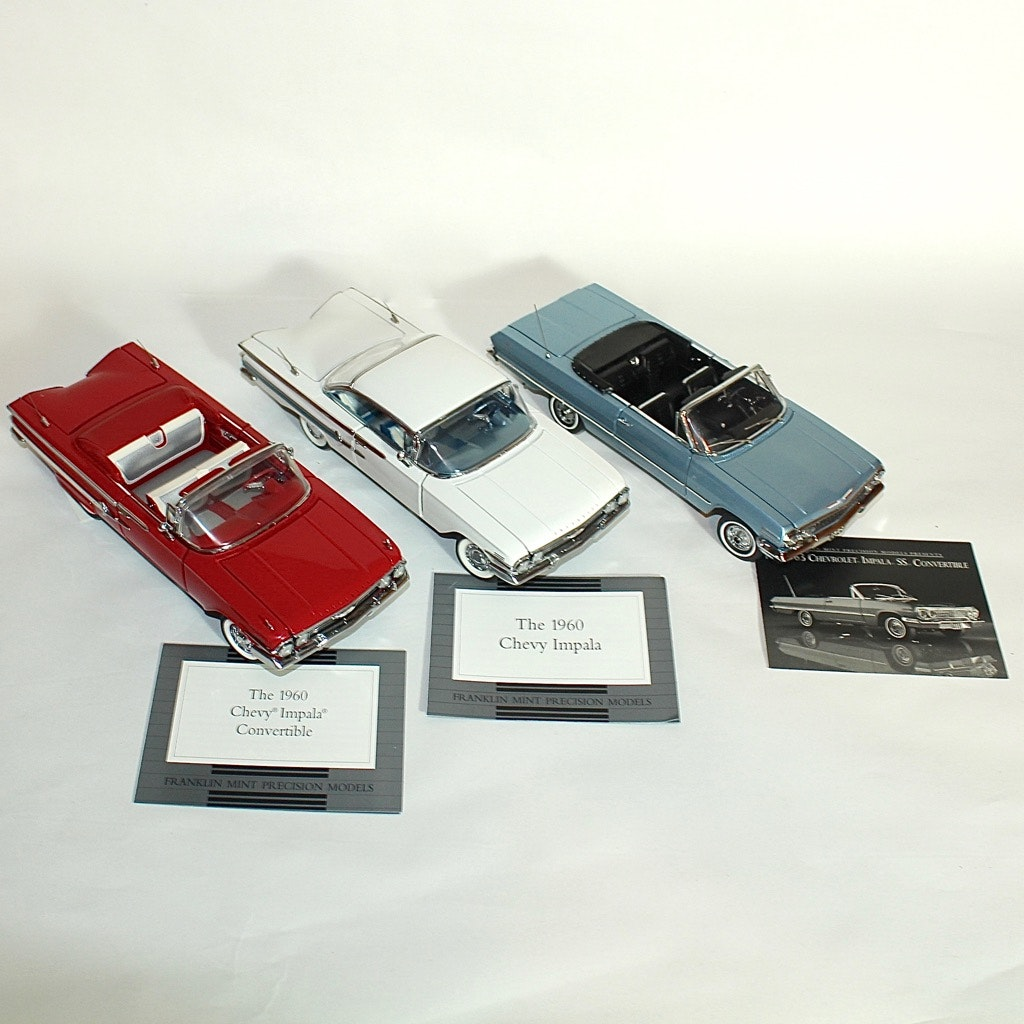 Three 1960s Chevy Impala Die Cast Models by Franklin Mint