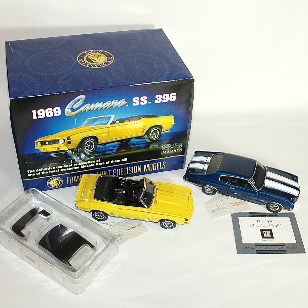Franklin Mint 1969 Chevy Camaro SS and 1970 Chevelle SS Die Cast Replicas
