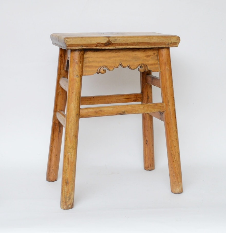 Country crafted wooden chair and stool ebth - Hand Crafted Wooden Stool