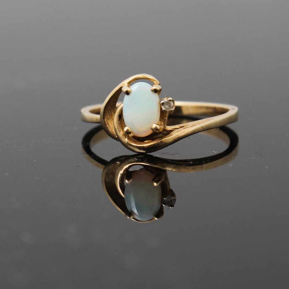 10K Yellow Gold Diamond and Opal Ring