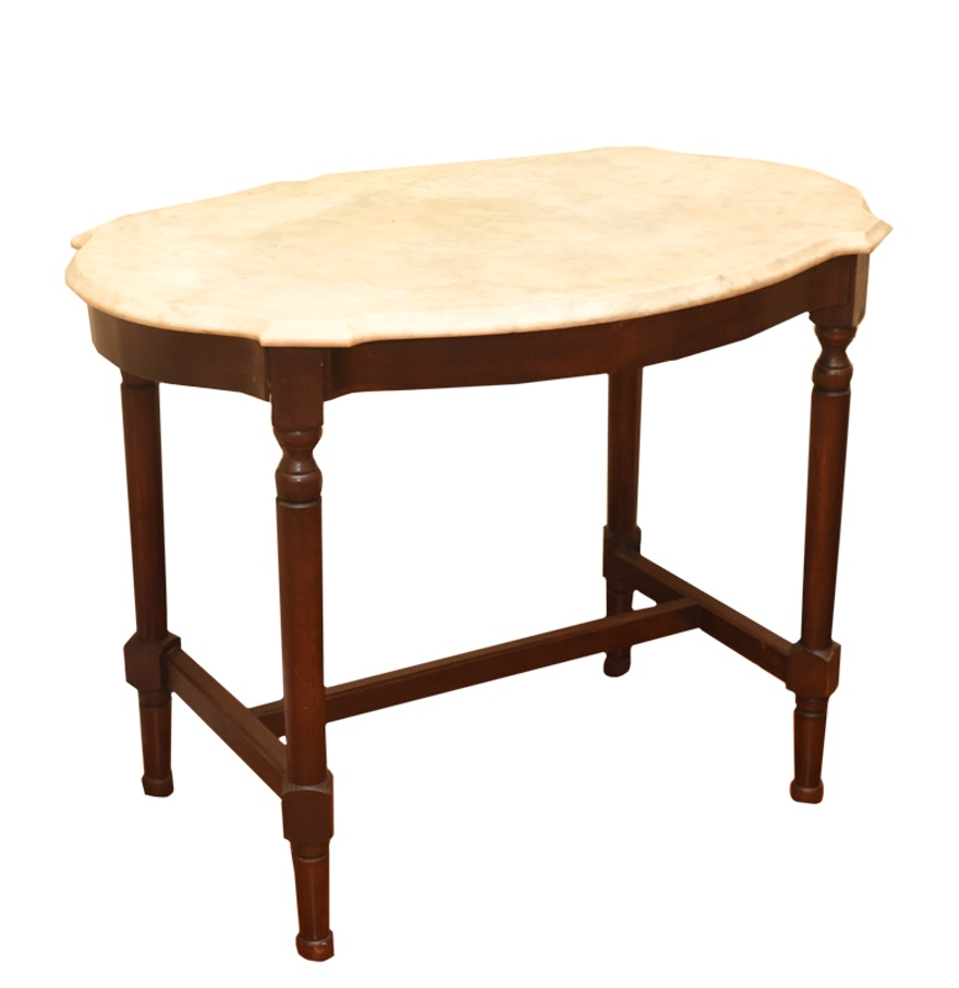 Vintage victorian style marble top table ebth vintage victorian style marble top table geotapseo Gallery