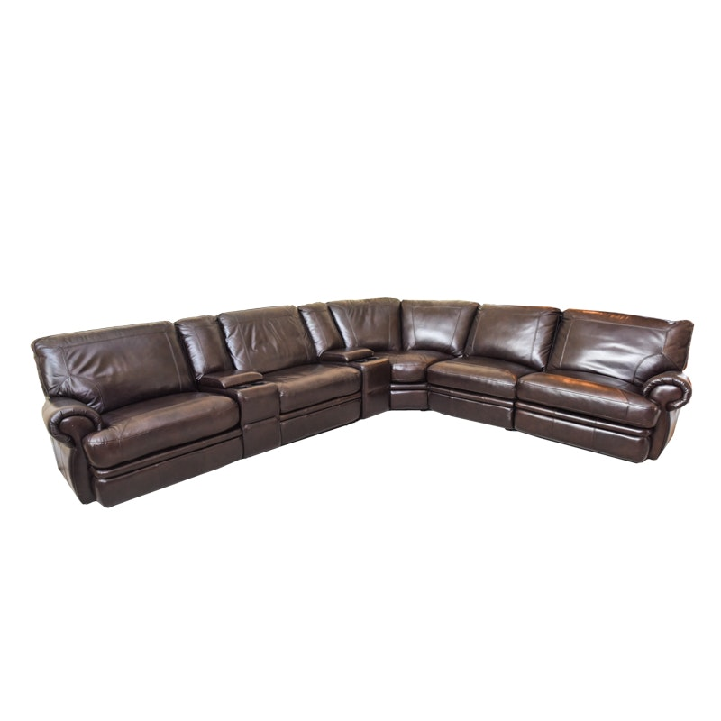 Brown Leather Sectional Sofa by Havertys Furniture