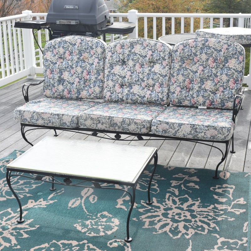Vintage Wrought Iron Patio Sofa and Table