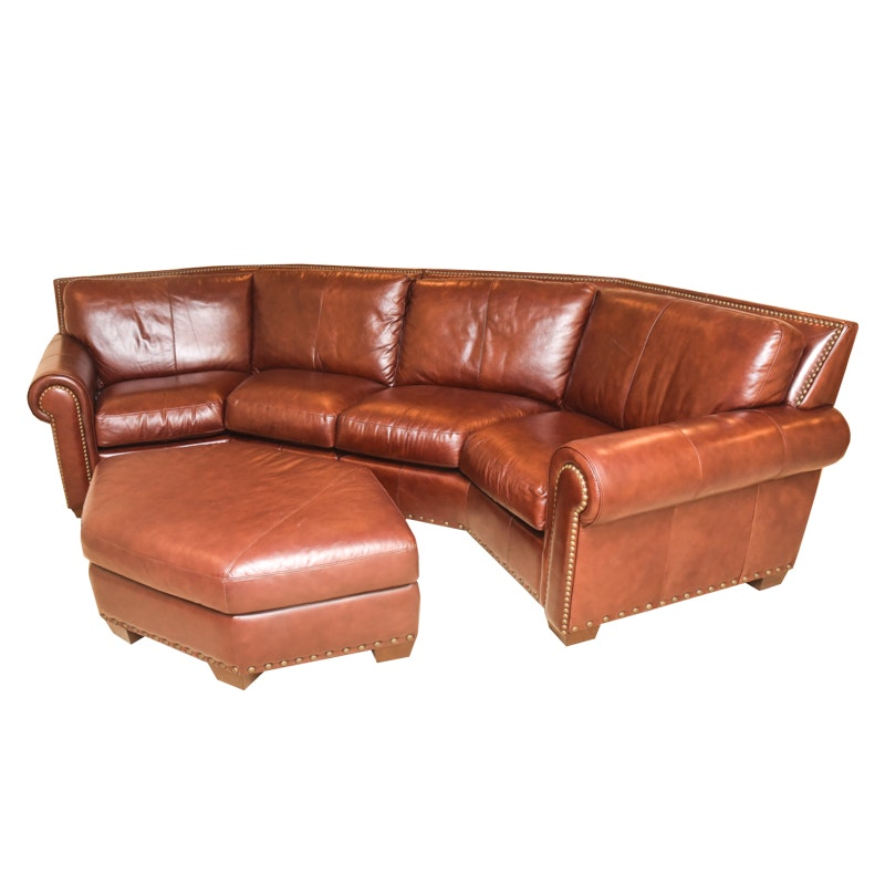 Brown Leather Curved Sectional Sofa with Ottoman by Star Furniture