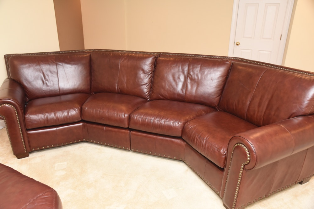 Brown Leather Curved Sectional Sofa With Ottoman By Star