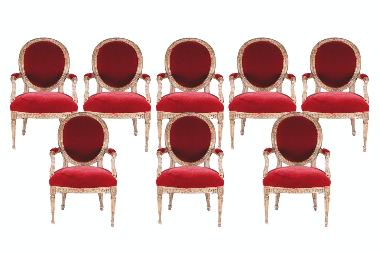 Set of Eight Red Velvet Cushioned Dining Chairs