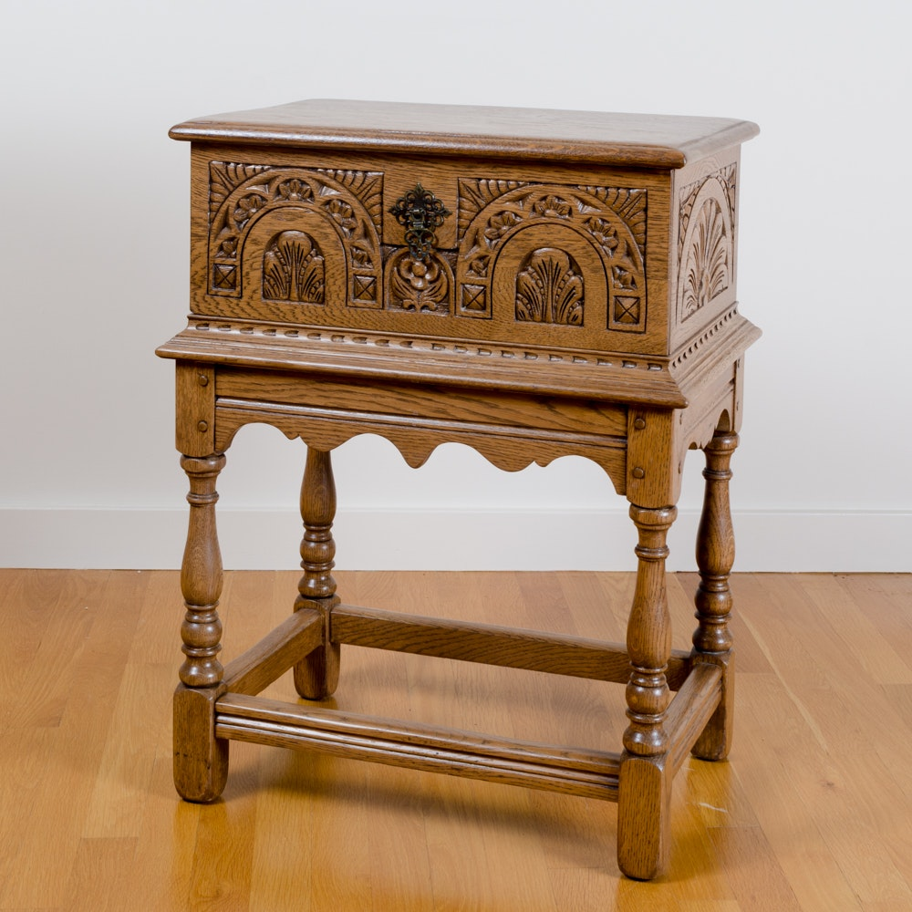 Vintage Jacobean Revival Style Carved Oak Chest-on-Stand