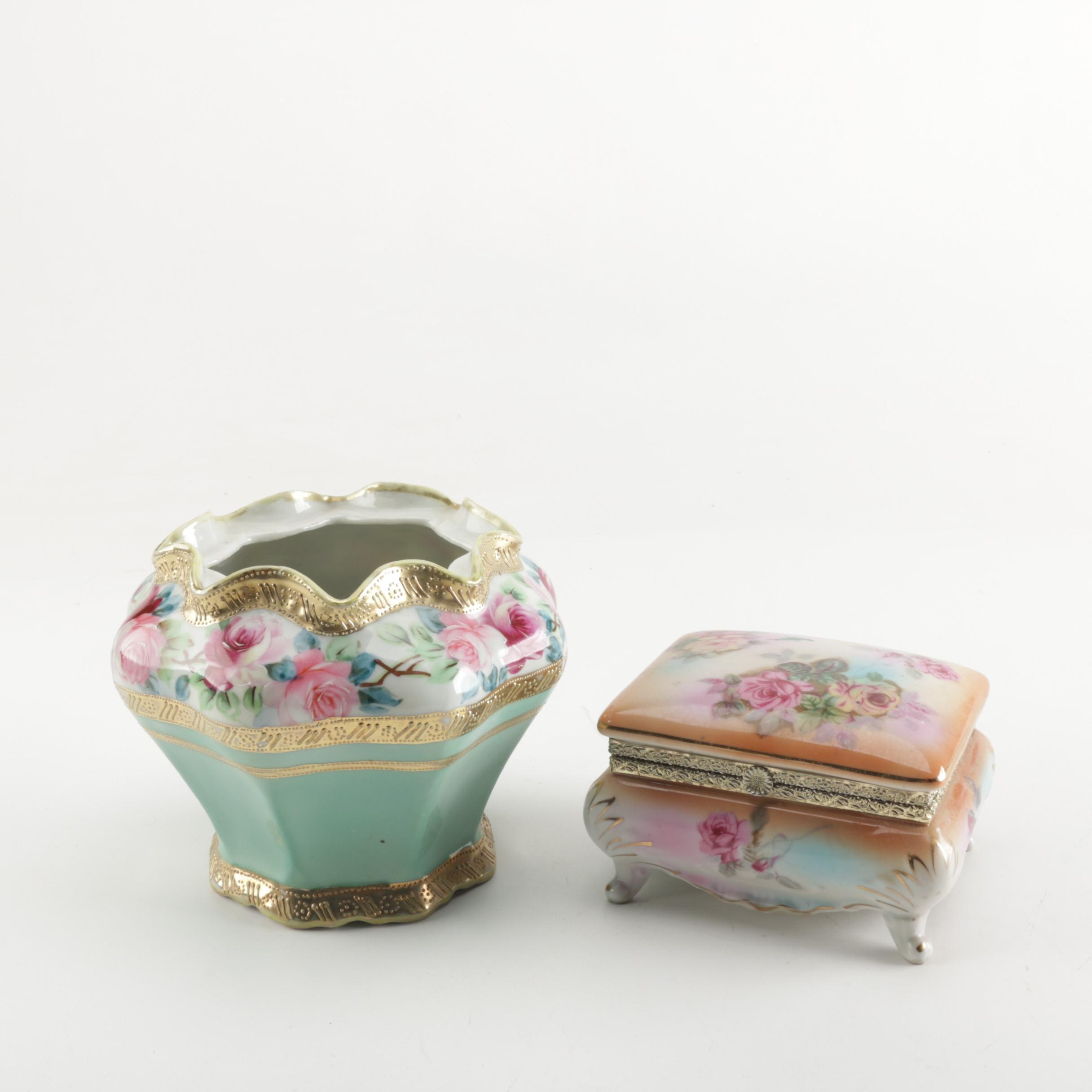 Vintage Hand Painted Porcelain Trinket Box and Vase