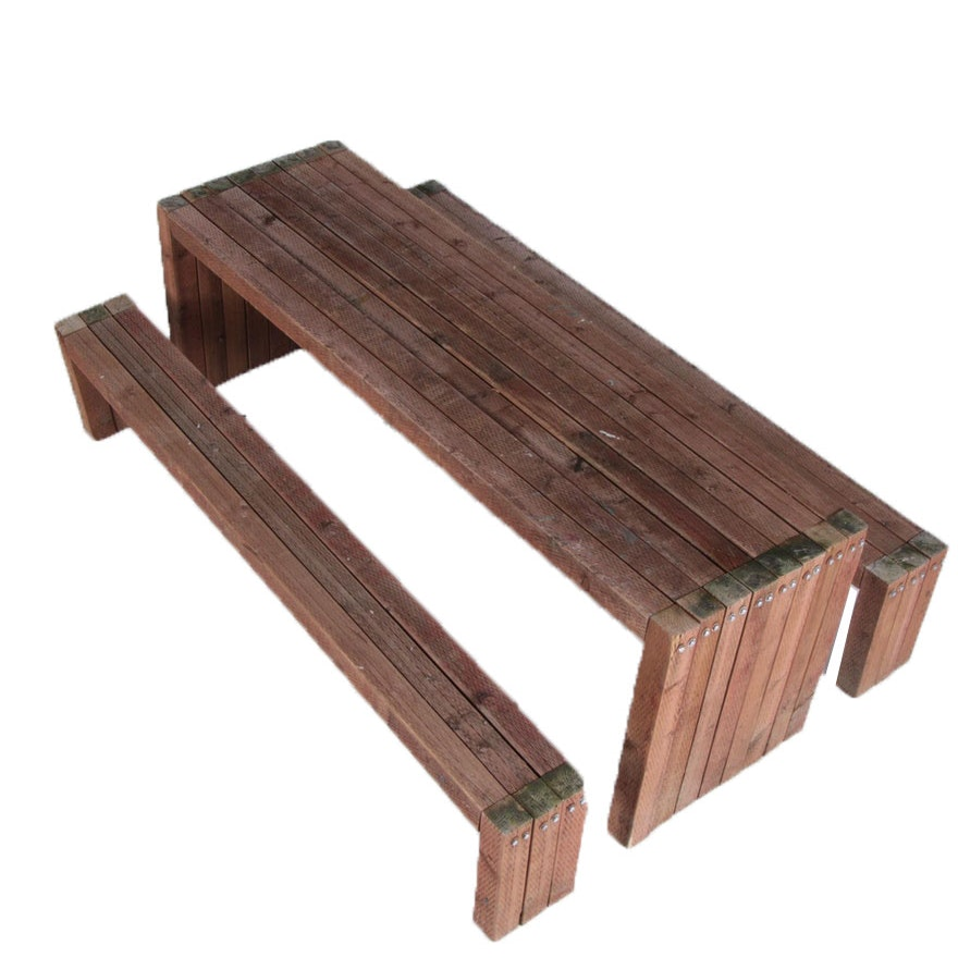 Outdoor Teak Wooden Table With Benches Ebth