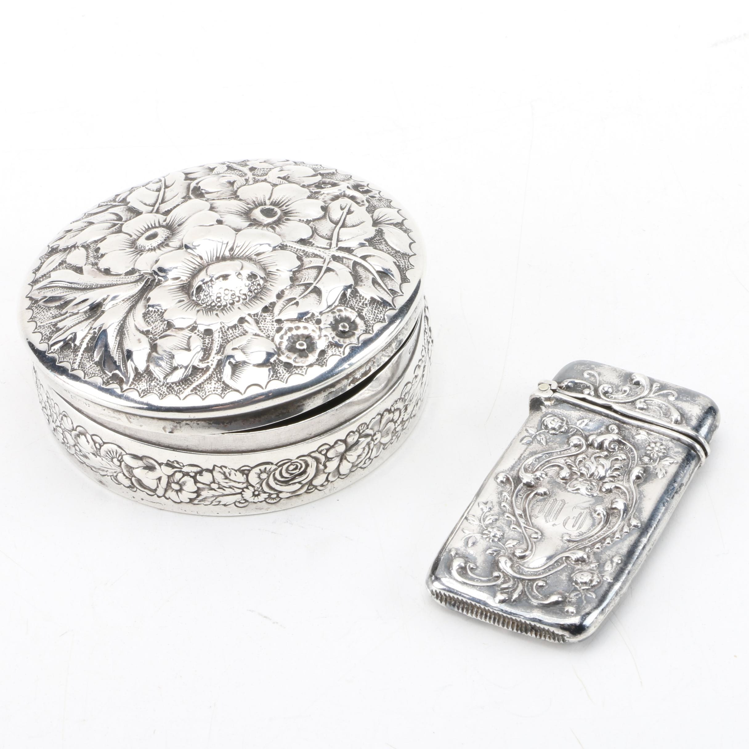 Gorham Repoussé Sterling Silver Trinket Box with Sterling Match Case