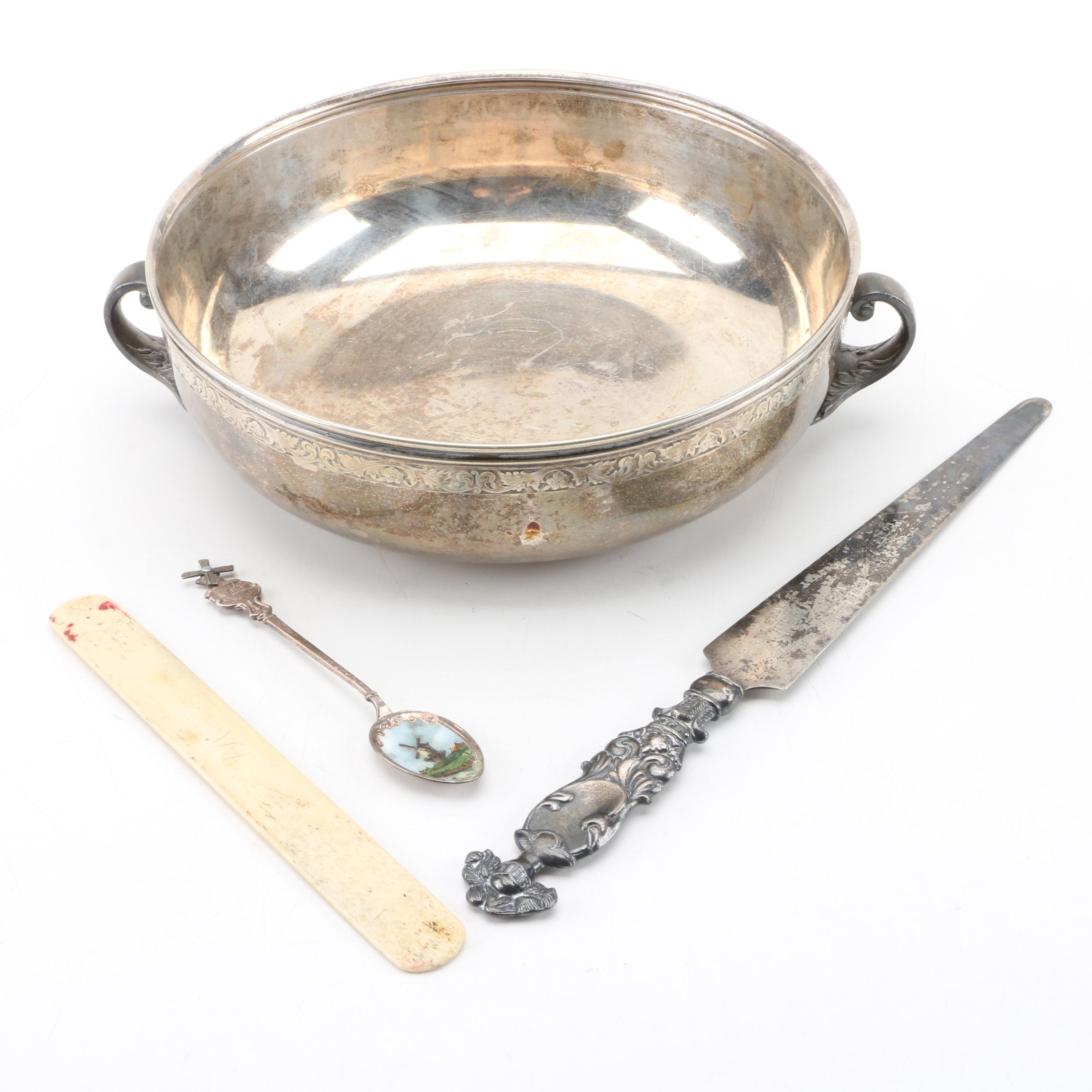 1933 Womens Tennis Trophy, Letter Openers and Collector Spoon