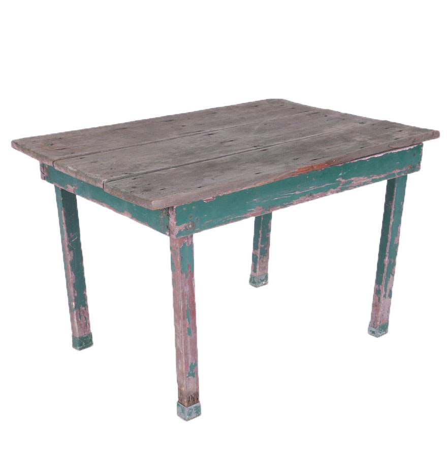 Rustic Wooden Table with Green Base