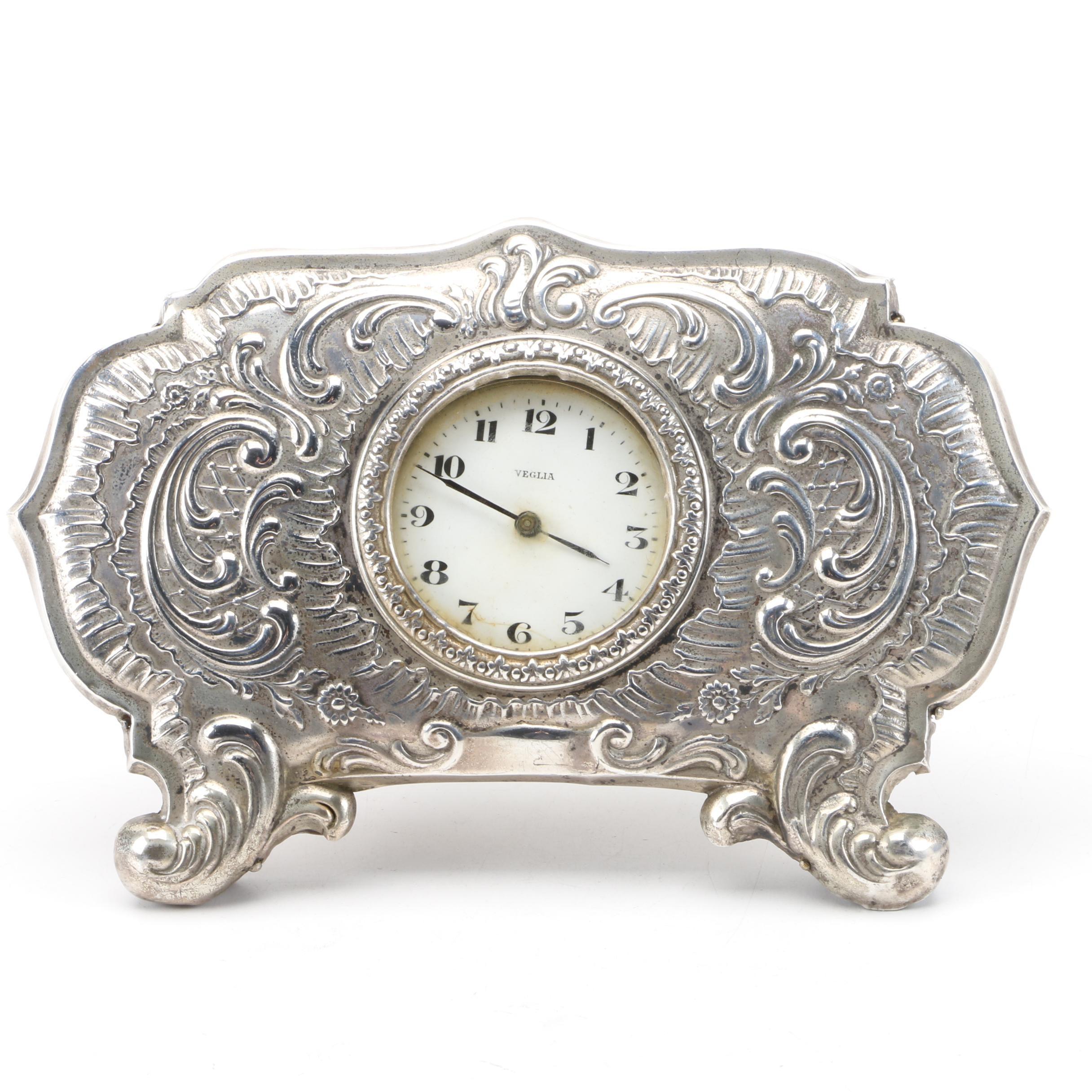 Veglia Silver Desk Clock