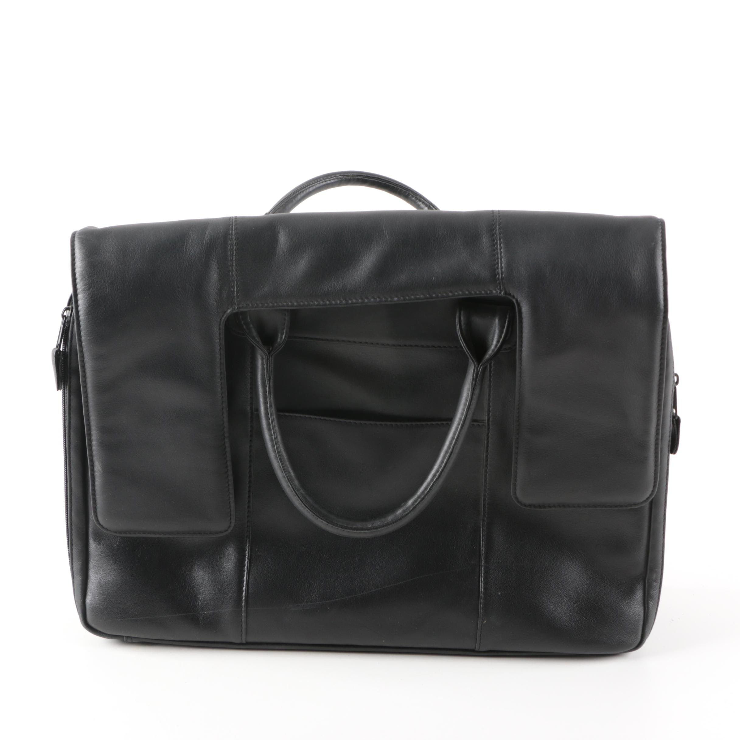 Black Leather Briefcase With Accordion File Pockets