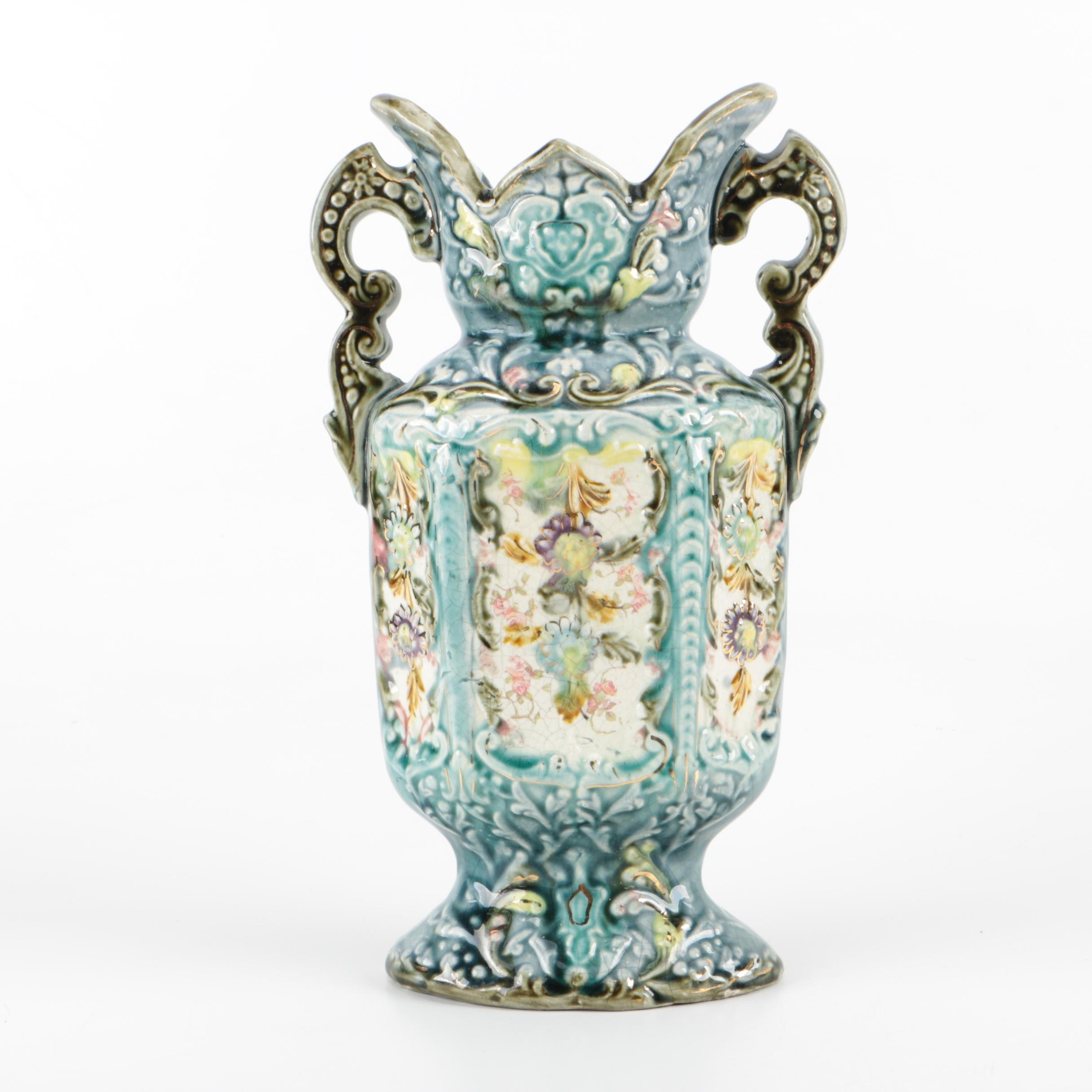 Vintage Hand-Painted and Embossed Ceramic Amphora